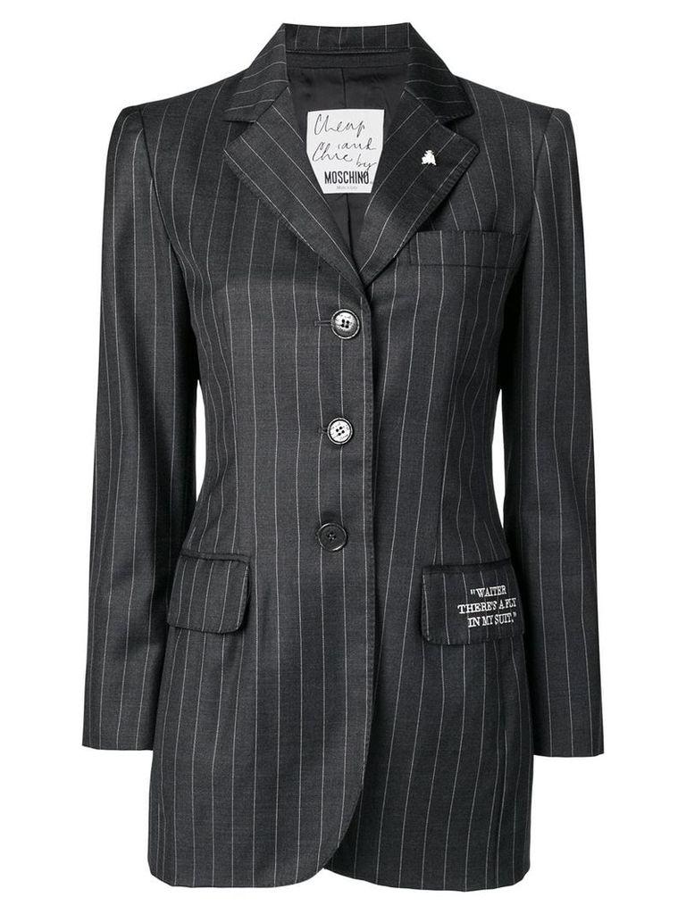 Moschino Vintage pinstriped button-down blazer - Grey
