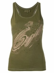 Romeo Gigli Pre-Owned embellished printed tank top - Green