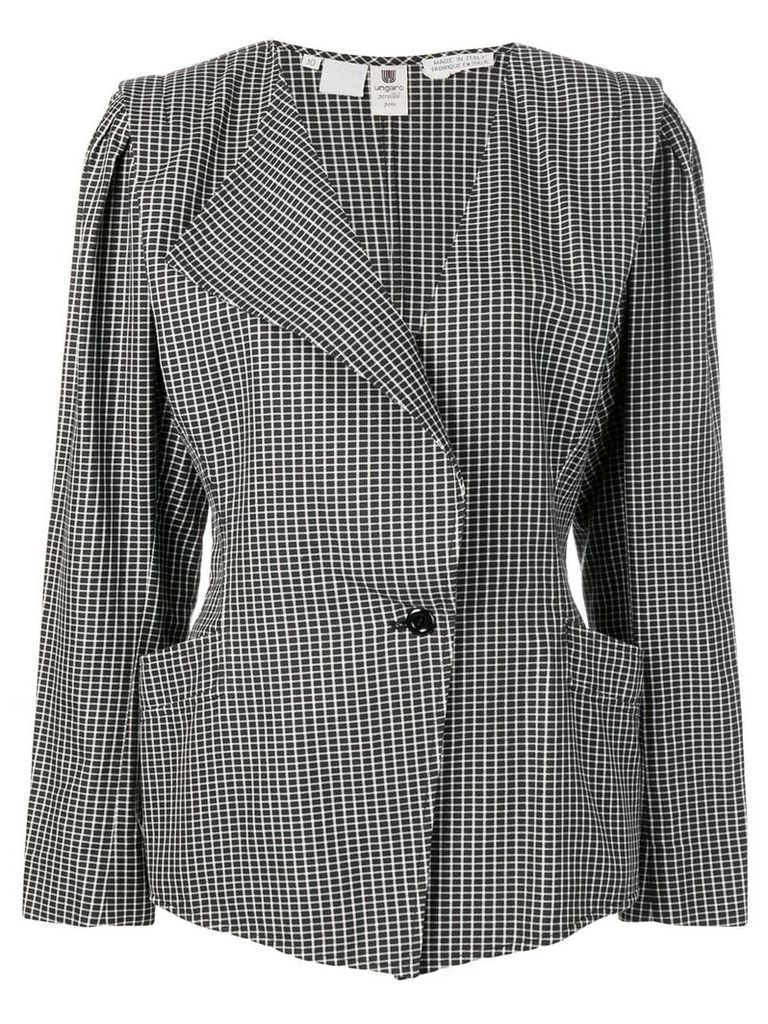 Emanuel Ungaro Vintage single breasted check blazer - Black