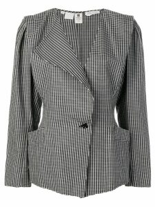 Emanuel Ungaro Pre-Owned single breasted check blazer - Black