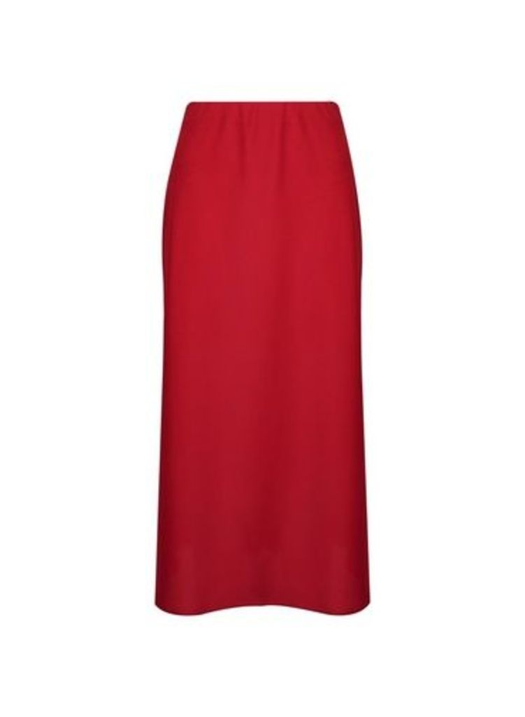 Womens Red Bias Satin Midi Skirt- Red, Red