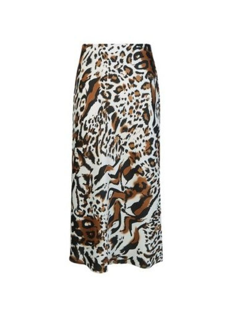 Womens Multi Coloured Animal Print Bias Midi Skirt- White, White