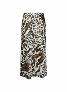 Womens Multi Coloured Animal Print Bias Midi Skirt- Brown, Brown