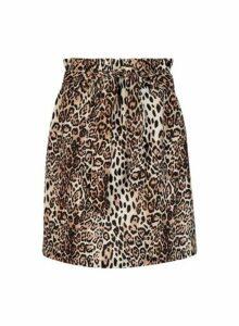Womens Brown Animal Print Paperbag Mini Skirt- Brown, Brown