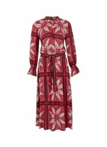 Womens Petite Red Paisley Print Midi Dress- Red, Red