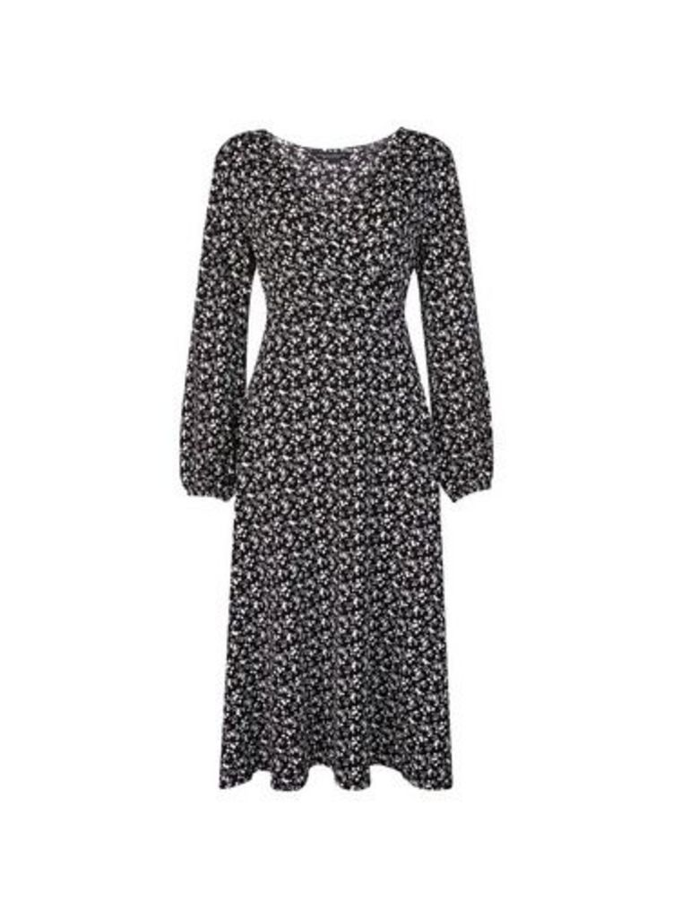 Womens Black Ditsy Print Wrap Dress- Black, Black