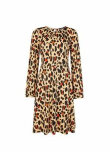 Womens Brown Animal Print Fit And Flare Dress- Brown, Brown