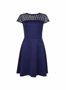 Womens Navy Lace Skater Dress- Blue, Blue