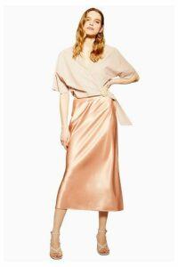 Womens Split Side Satin Bias Midi Skirt - Apricot, Apricot
