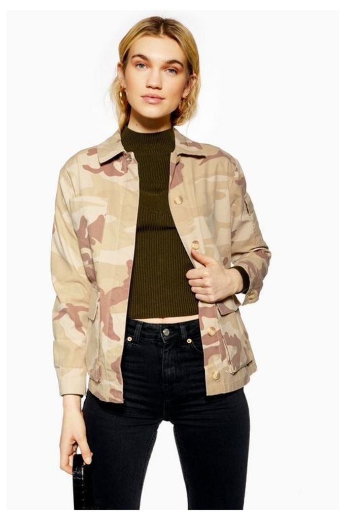 Womens Petite Sand Camouflage Jacket - Off White, Off White
