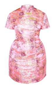 Plus Pink Oriental Jacquard Bodycon Dress, Pink