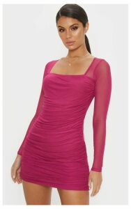 Hot Pink Mesh Square Neck Ruched Bodycon Dress, Hot Pink