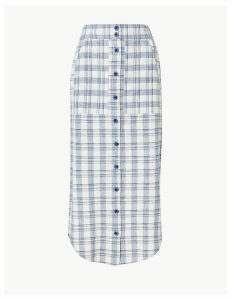 M&S Collection Cotton Rich Checked Pencil Midi Skirt