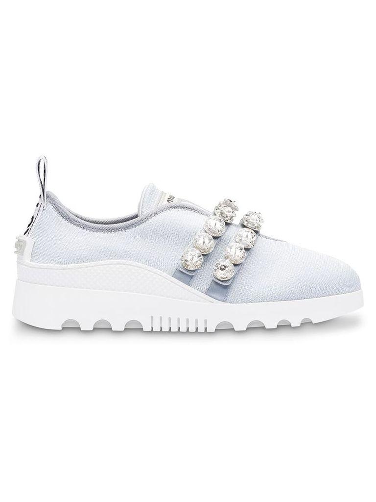 Miu Miu Run stretch knit slip-on sneakers - Grey