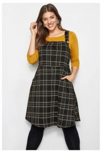 Womens Yours Check Dress -  Black