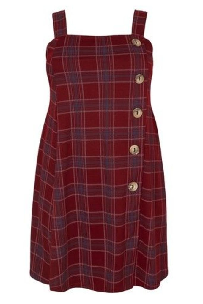 Womens Yours Pinafore Dress -  Red