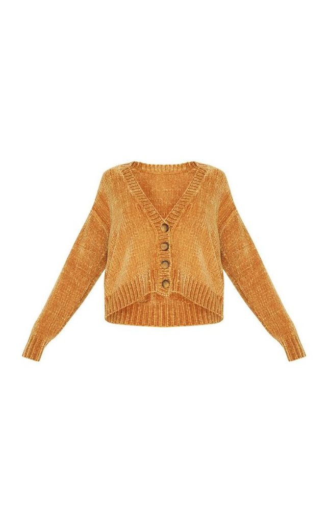 Mustard Chenille Knitted Cardigan, Yellow