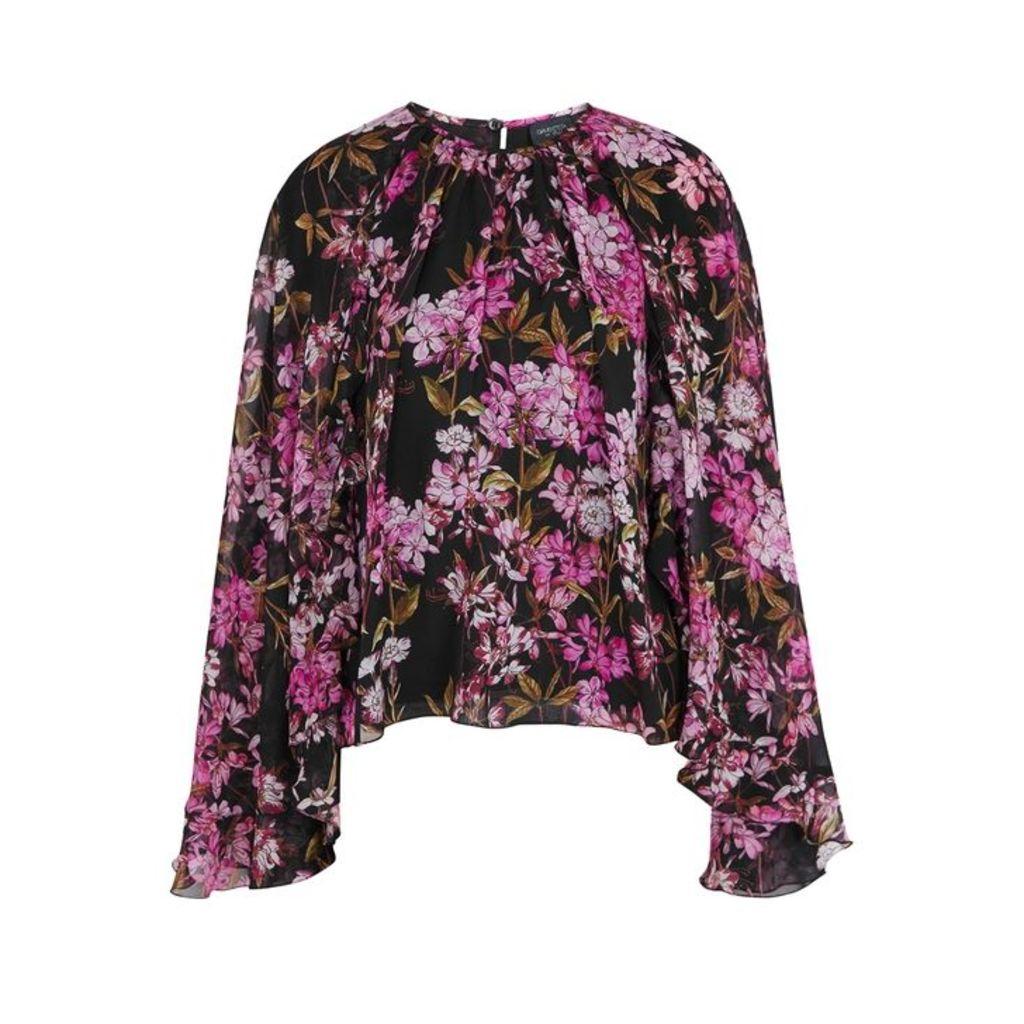 Giambattista Valli Floral-print Cape-effect Silk Top