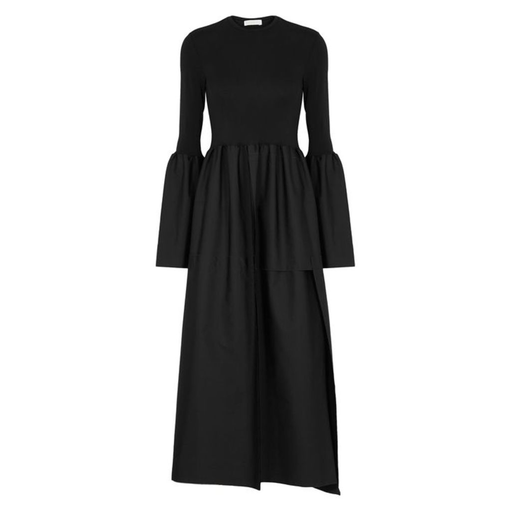 LOROD Black Cotton Midi Dress