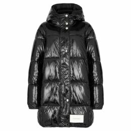 Calvin Klein Black Quilted Patent Shell Coat