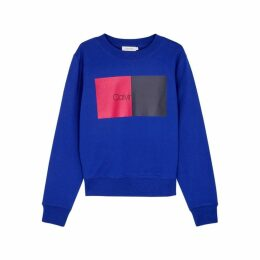Calvin Klein Blue Logo-print Cotton Sweatshirt
