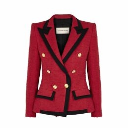 Alexandre Vauthier Red Double-breasted Tweed Blazer