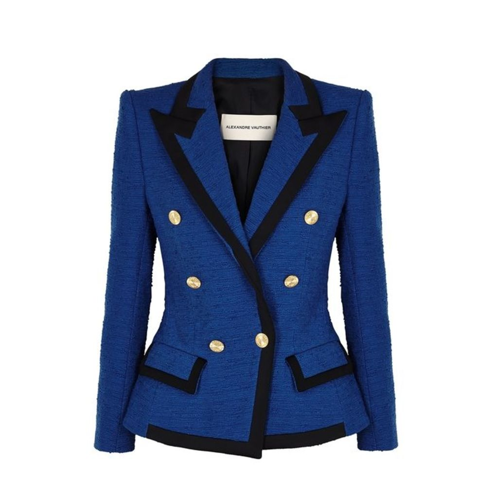 Alexandre Vauthier Blue Double-breasted Tweed Blazer