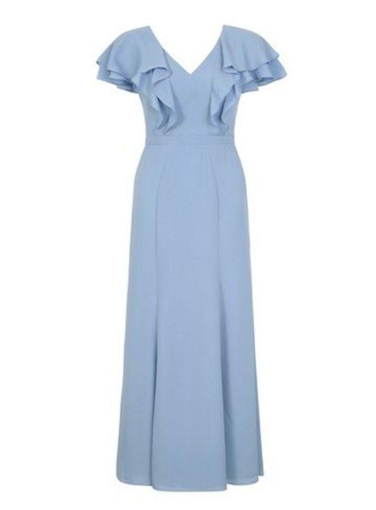 **Chi Chi London Blue Ruffle Sleeve Maxi Dress, Blue