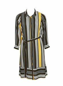 Black And Yellow Stripe Shirt Dress, Dark Multi