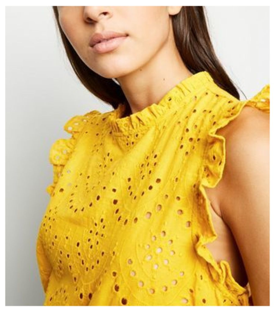 Yellow Cutwork Frill Trim Blouse New Look