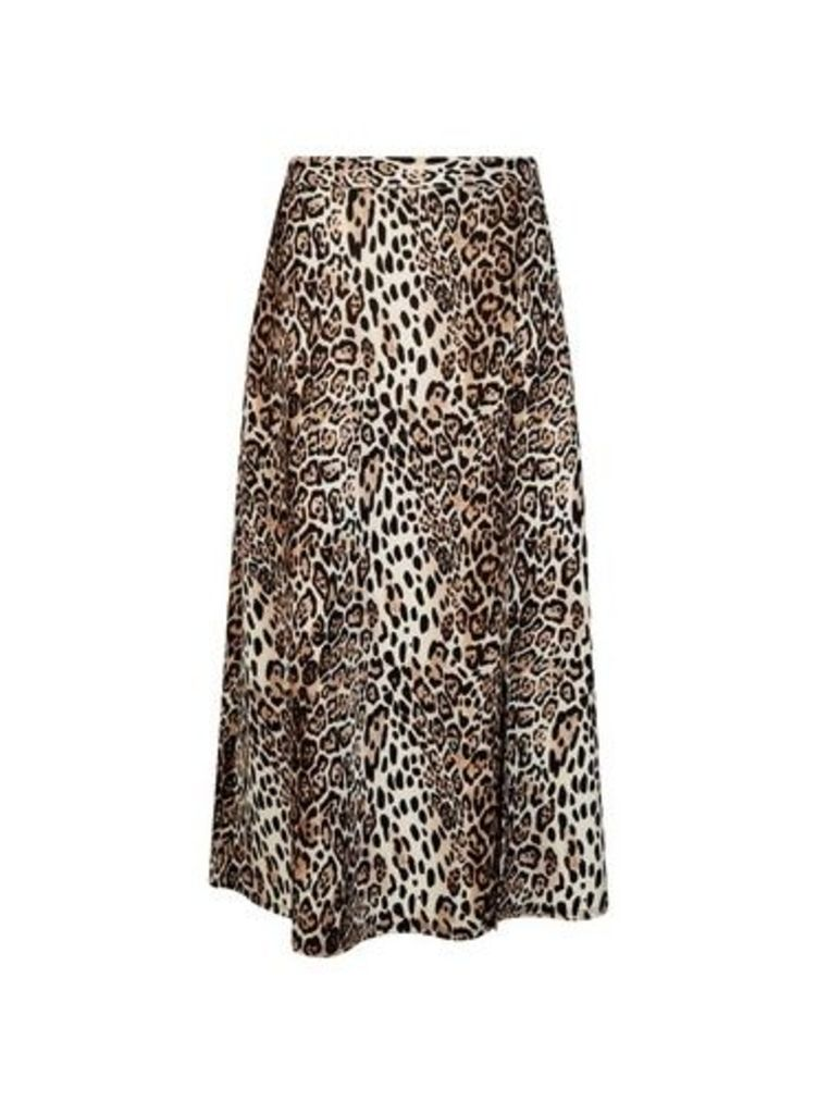 Womens Brown Animal Print Split Midi Skirt- Brown, Brown