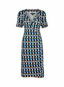 Womens Cobalt Geometric Printed Wrap Dress- Cobalt, Cobalt
