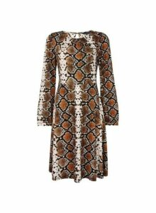 Womens Brown Snake Print Pleated Neck Fit And Flare Dress- Brown, Brown