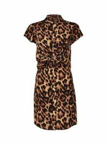 Womens Multi Colour Animal Print Knot Shirt Dress- Black, Black