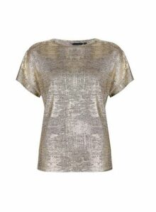 Womens Gold Shimmer Style Batwing Sleeves Top- Gold, Gold