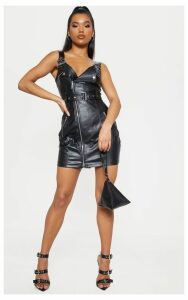 Black Faux Leather Buckle Detail Bodycon Dress, Black