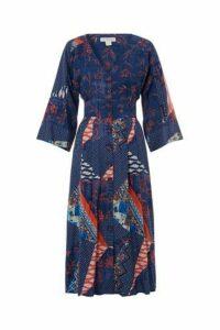 Womens Monsoon Ladies Blue Dakota Patch Print Midi Dress -  Blue