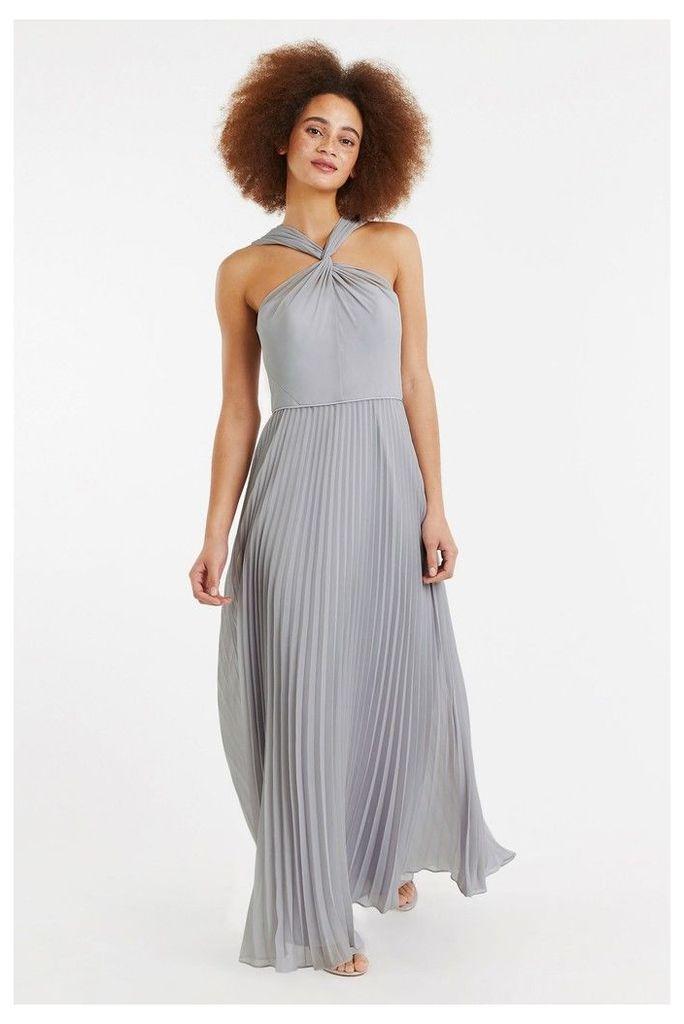 Womens Oasis Grey Twist Neck Pleat Maxi Dress -  Grey
