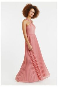 Womens Oasis Pink Twist Neck Pleat Maxi Dress -  Pink