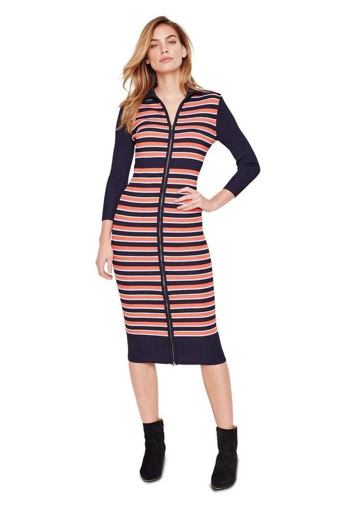 Womens Damsel In A Dress Multi Mita Stripe Rib Knitted Dress -  Black