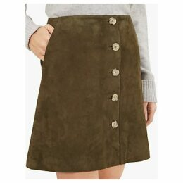 Jaeger Suede Button Detail Skirt, Green