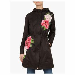 Ted Baker Rih Floral Hooded Parka Jacket, Black