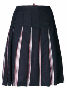 Thom Browne tricolour lined pleated skirt - Blue