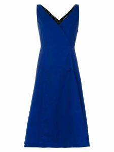 Reinaldo Lourenço v-neck flared dress - Blue