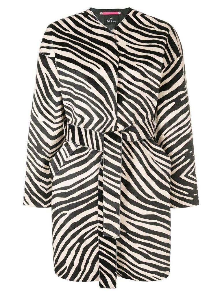 PS Paul Smith zebra printed coat - Black