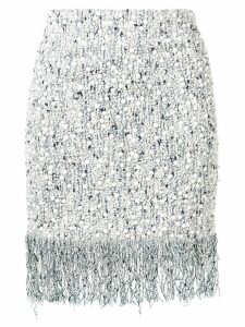 Balmain ceramic details fringed skirt - Blue