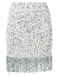 Balmain ceramic details fringed skirt - Blue