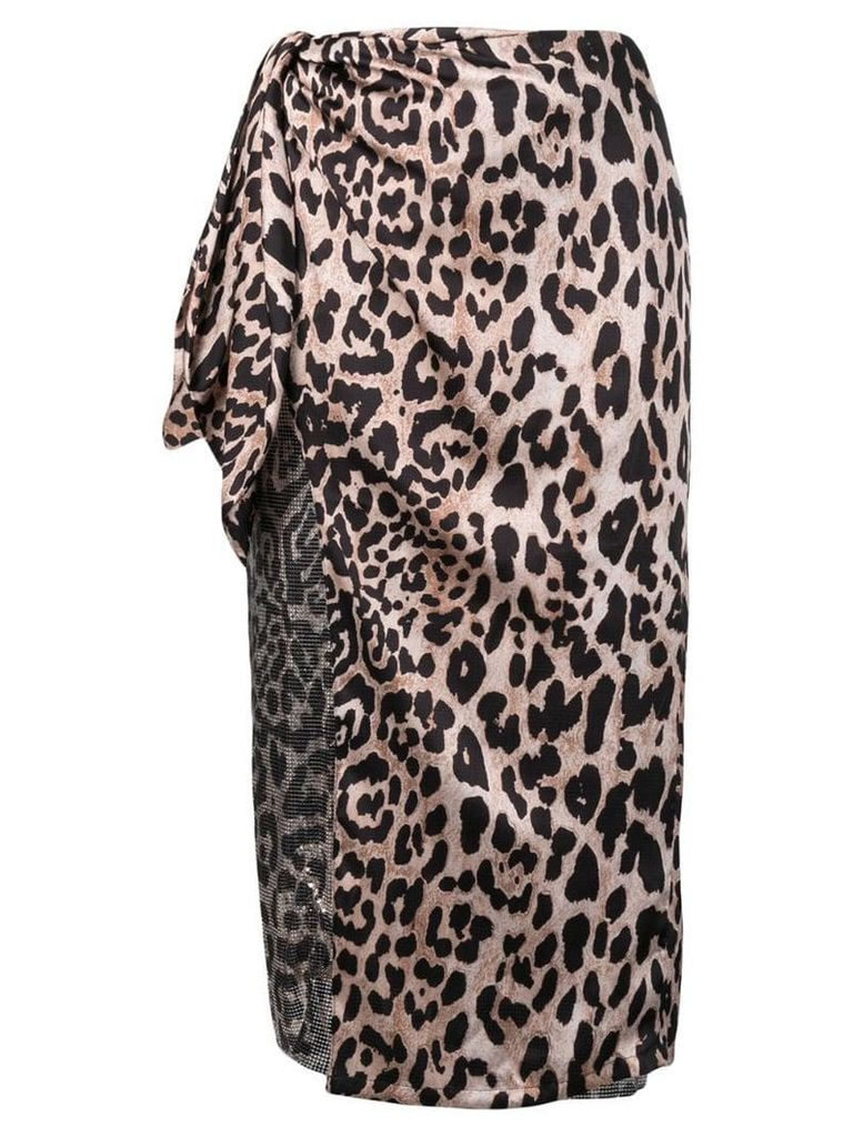 Paco Rabanne leopard print wrap skirt - Brown