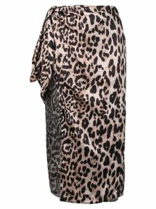 Paco Rabanne leopard print wrap skirt - Brown