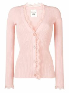 Semicouture lace trimmed cardigan - Pink